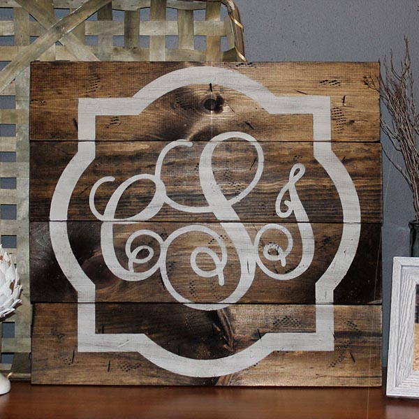 Large Monogram 24x24 - Cursive Wood Sign