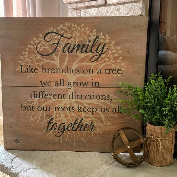Family Roots - 24x24 Wood Sign