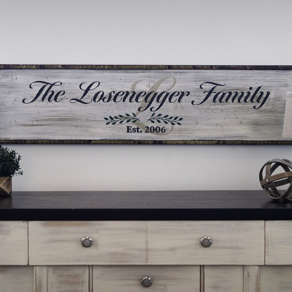 Framed Family Script 14x50 Framed Wood Sign