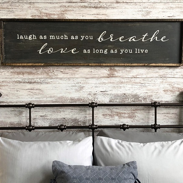 Laugh as Much as You Breathe - 14x50 Framed Wood Sign