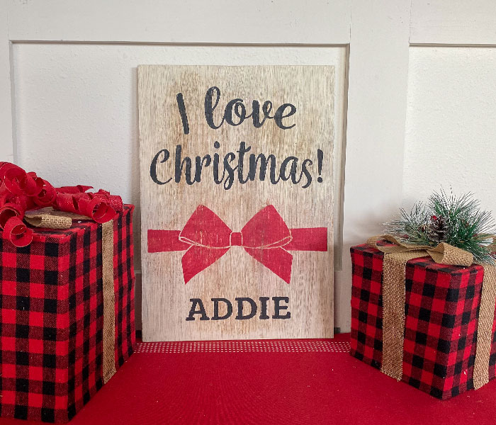 I Love Christmas Bow - 12x14