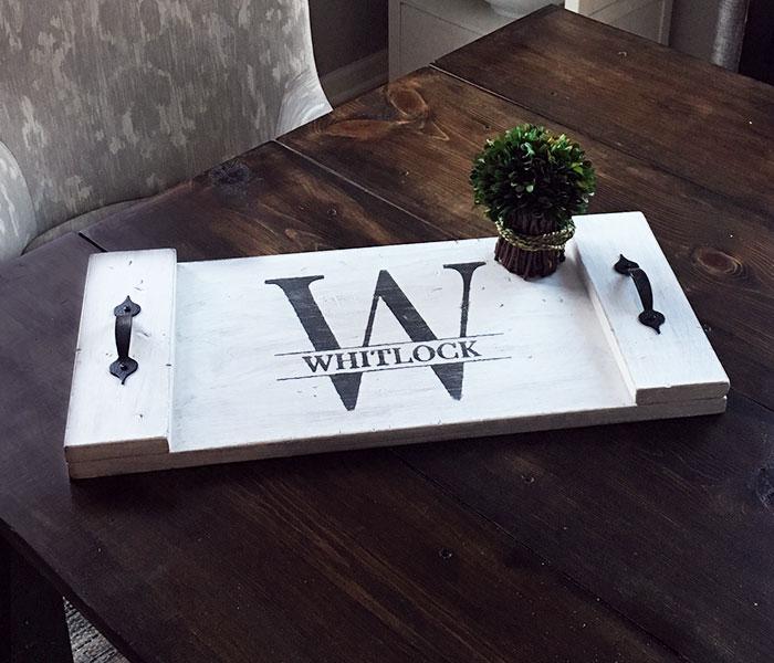 Split Monogram Tray - 12x24 Wood Tray