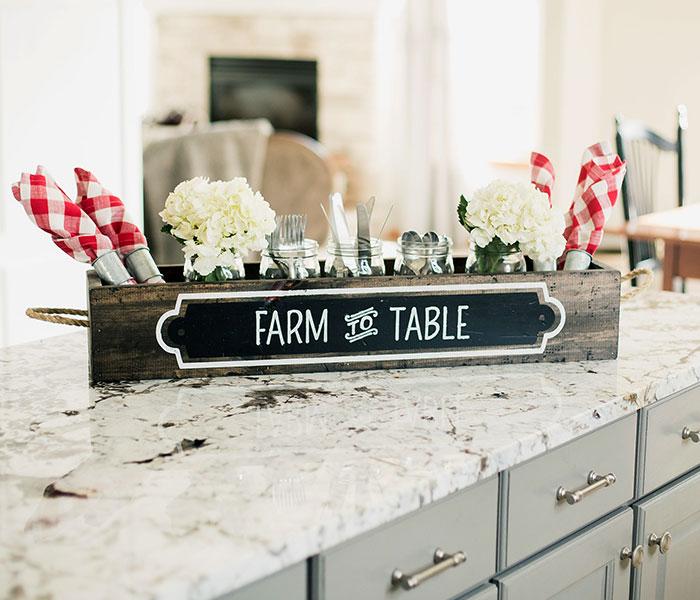 Farm to Table Centerpiece Box 6x32x4 Wood Box