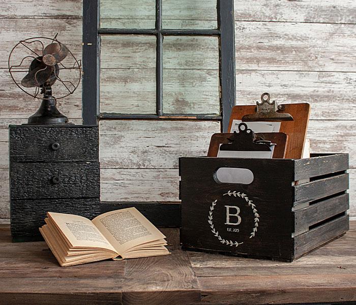 Monogram Crate - 12x17x9 Wood Crate