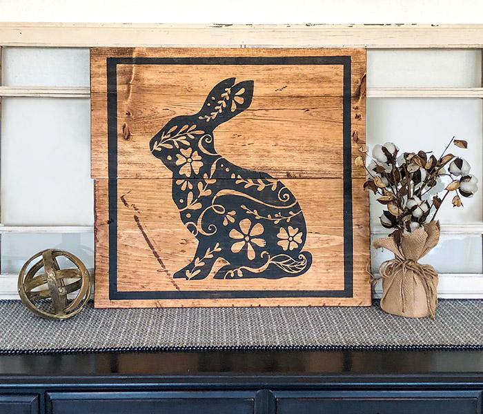 Ornate Bunny - 24x24 Wood Sign