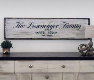 Framed Family Script - 14x50 Framed Wood Sign