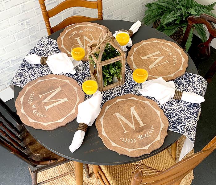 "Monogram Flourish Wood Chargers - 15"" Round"