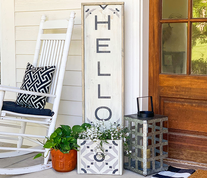 Hello Porch Planter - 14x50 Framed