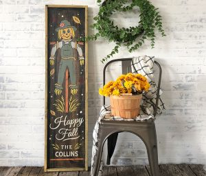 Happy Fall Scarecrow - 14x50 Framed