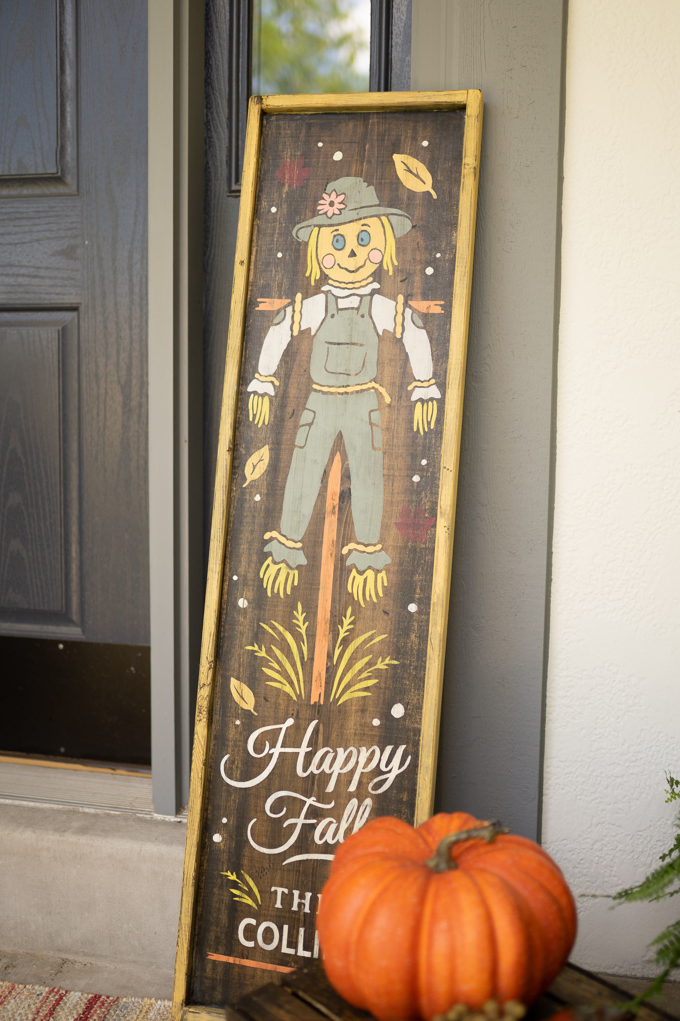 Happy Fall Scarecrow 14x50 Staged