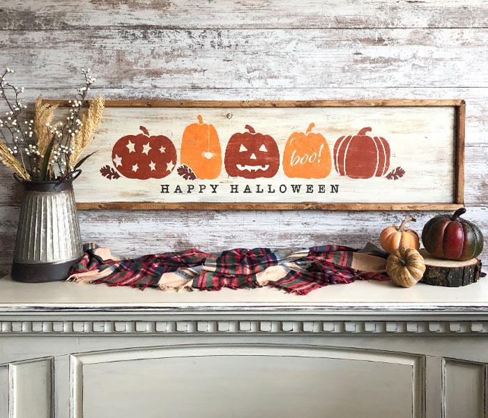 Happy Halloween Pumpkins - 14x50 Framed
