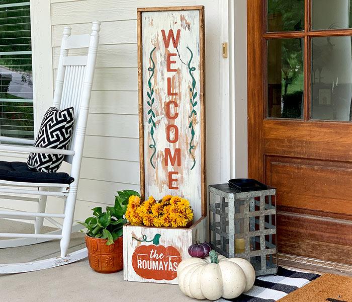 Welcome Family Pumpkin Planter 14x50 Framed