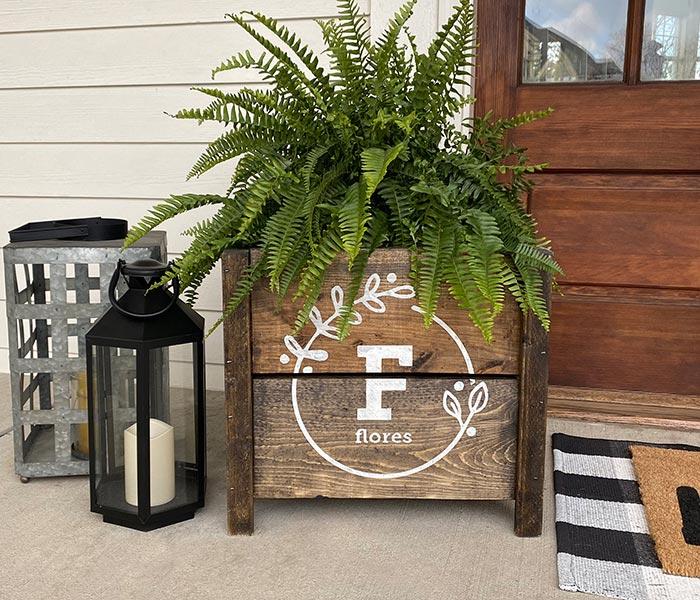 Floral Monogram Box Planter