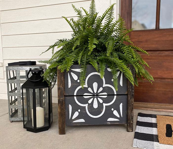 Floral Tile Box Planter