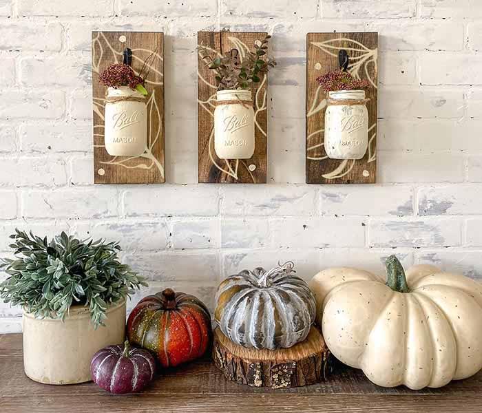 Botanical Glass Hanging Mason Jar Trio